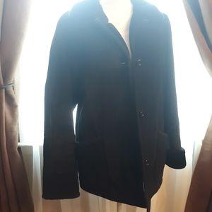 Gallery Genuine Leather Blk Coat w/ Faux Fur Trim